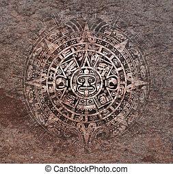 カレンダー, mayan, 古い, 石