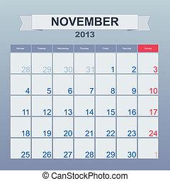 カレンダー, monthly., 11 月, 2013, スケジュール