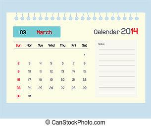 カレンダー, monthly., 3月, スケジュール