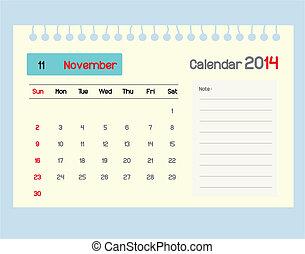 カレンダー, monthly., novem, スケジュール