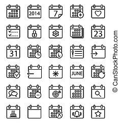 カレンダー, set., アイコン
