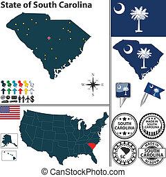 カロライナ, 地図, 州, 南, アメリカ