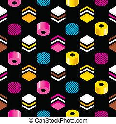 カンゾウ味のキャンデー, allsorts, seamless, パターン