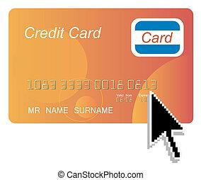 カーソル, クレジット, コンピュータ, 黒い矢印, オレンジ, カード