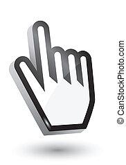 カーソル, シンボル, ベクトル, 3d, 手