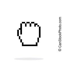 カーソル, バックグラウンド。, 握りこぶし, 白, ピクセル, アイコン