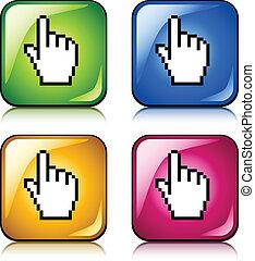 カーソル, ボタン, ベクトル, ピクセル, 手