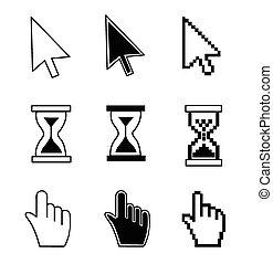 カーソル, 手, 砂時計