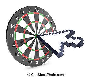 カーソル, 衝突, ダート盤, 矢