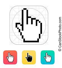 カーソル, icon., ピクセル, 手