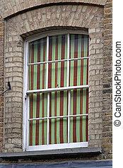カーテン, しまのある, 窓