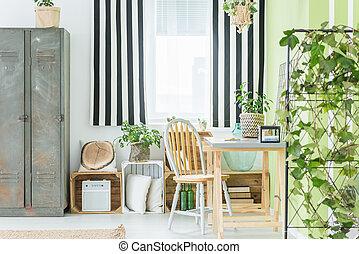 カーテン, しまのある, 窓, 部屋