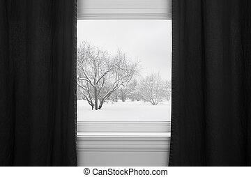 カーテン, の後ろ, 黒, 冬の景色