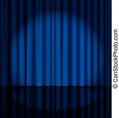 カーテン, ステージ, 点 ライト