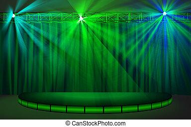 カーテン, ステージ, 空, 緑