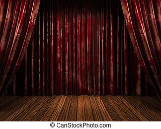カーテン, ビロード, 赤, ステージ