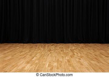 カーテン, ビロード, 黒, 小さい, 劇場, ステージ