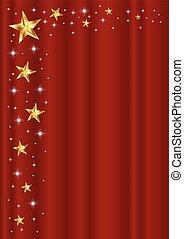 カーテン, フレーム, 星, 赤