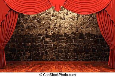 カーテン, ベクトル, ビロード, 赤, ステージ