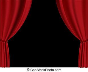 カーテン, ベクトル, 赤, theater.