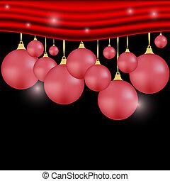 カーテン, ボール, クリスマス, 背景, 赤