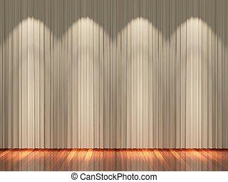 カーテン, ライト, ステージ, ブラウン
