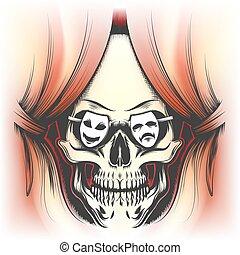 カーテン, 人間の頭骨, ステージ