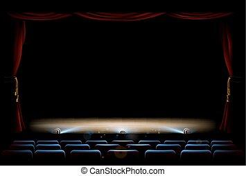 カーテン, 劇場, ステージ