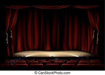 カーテン, 劇場, 劇場, ステージ