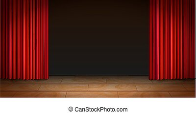 カーテン, 劇場, 木製である, 現場, 暗い背景, 赤