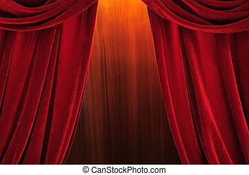 カーテン, 劇場, 赤, ステージ