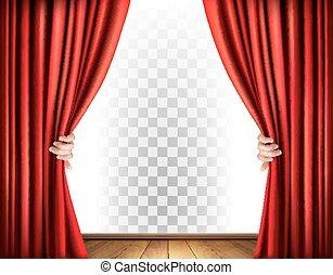 カーテン, 劇場, 透明, vector., バックグラウンド。