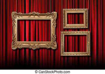 カーテン, 劇場, 金, 3, 掛かること, フレーム, 赤, ステージ