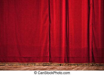 カーテン, 劇場, 閉じられた, 赤