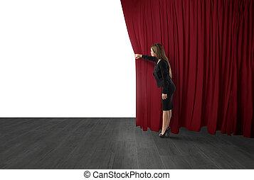 カーテン, 女, 劇場, stage., スペース, テキスト, ブランク, 開いた, あなたの, 赤
