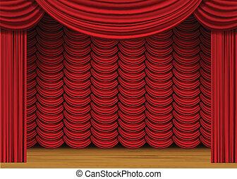 カーテン, 床, 木, 現場, ベクトル, 赤