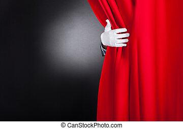 カーテン, 手品師, 開始, 赤, ステージ