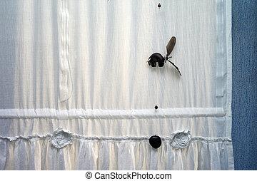 カーテン, 掛かること, おもちゃ, 窓