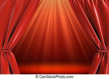 カーテン, 明るい, ステージ
