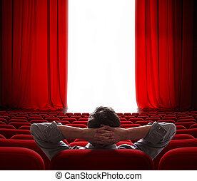 カーテン, 映画館, スクリーン, 開始, 人, vip, 赤