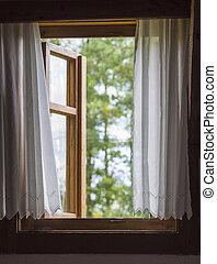 カーテン, 木製である, 木, 無作法, 窓, 緑, 焦点がぼけている, 白, 光景