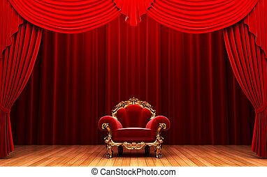 カーテン, 椅子, ビロード, 赤