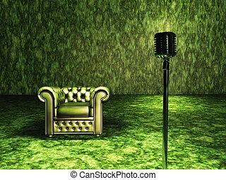 カーテン, 椅子, 緑の赤
