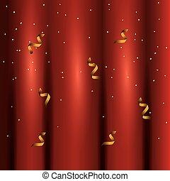 カーテン, 渦巻, 金, 赤