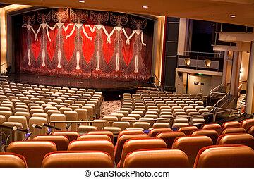 カーテン, 現代, 劇場, カラフルである, ステージ
