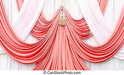 カーテン, 白い赤, ステージ