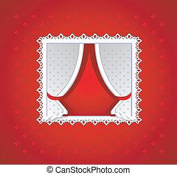カーテン, 白い赤, 背景