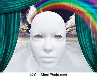 カーテン, 白, マスク, 虹