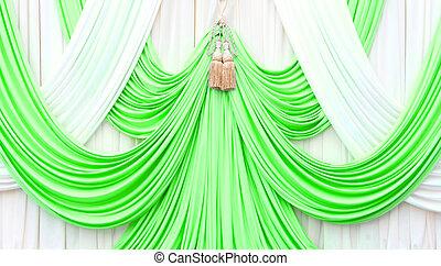 カーテン, 白, 緑, ステージ
