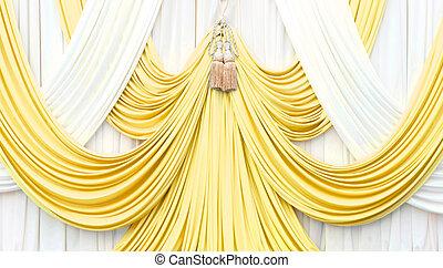 カーテン, 白, 金, ステージ